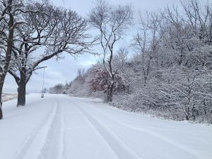 road covered by snow