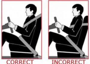 improper seat belt use under arm