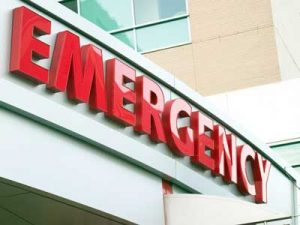 Emergency room for a car accident injury